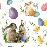 Watercolor easter pattern with rabbit and chick. Holiday ornament with bunny, bird, colored eggs and snowdrops isolated. On white background. Nature stock illustration