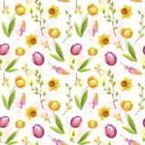 Watercolor easter pattern stock illustration