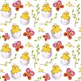 Watercolor easter pattern vector illustration
