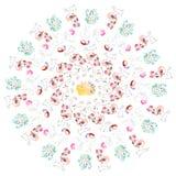 Watercolor easter rabbits circle Royalty Free Stock Image