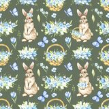 Watercolor Easter seamless pattern with baskets, bunny and flowers on a green background. Cute cartoon illustrations