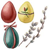 Watercolor Easter set with bright eggs and willow branch. Hand painted willow and festive eggs with decor. Holiday royalty free illustration
