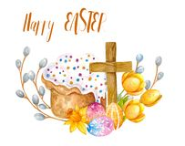 Watercolor Easter Sets stock illustration