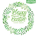 Watercolor easter Spring Background.Green branches Stock Photos