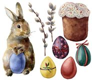 Watercolor Easter symbols set with eggs and bunny. Hand painted color eggs, willow branch, Easter cake, rabbit. Isolated on white background. Holiday royalty free illustration