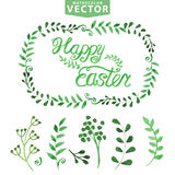 Watercolor Easter template.Word,leaves,branshes Stock Images