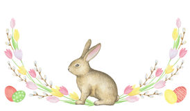 Free Watercolor Easter Wreath. Royalty Free Stock Image - 66024736