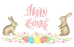 Free Watercolor Easter Wreath. Royalty Free Stock Image - 66329906