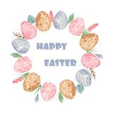 Watercolor easter wreath with eggs and flowers. royalty free illustration