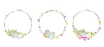 Watercolor Easter wreath Set, isolated on white background. Hand painted Round frame with pussy willow branch, spring