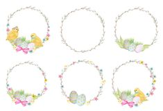 Watercolor Easter wreath Set,  on white background. Hand painted Round frame with pussy willow branch, spring