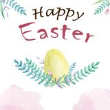Watercolor easter yellow egg with branch stock photography