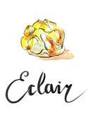 Watercolor eclair Stock Photos