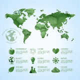 Watercolor ecology infographic background Stock Photos