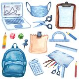 Watercolor education equipment of backpack, microscope, books, laptop, pencils, face mask, calculator, ruller. Hand