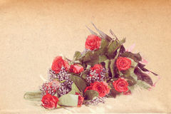 Watercolor effect bouquet of fresh red roses vintage Stock Image