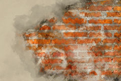Watercolor effect picture cracked brick wall. Watercolor effect picture of cracked brick wall texture for background Royalty Free Stock Image