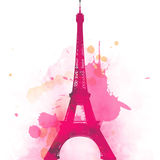 Effel Tower Paris France And Retro Red Car Stock Image
