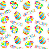 Watercolor egg seamless patten with etterrng happy easter Stock Photos
