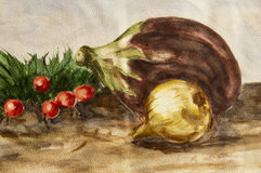 Watercolor of eggplant, onion, radishes. Still life composition of eggplant, onion, radishes - handmade watercolor painting illustration on a white paper art Stock Photography