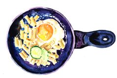 Watercolor eggs on a griddle royalty free stock photos