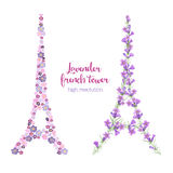 Watercolor eiffel tower made of lavender branches Royalty Free Stock Photo