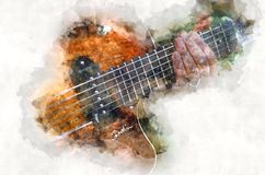 Watercolor electric quitar music instrument Stock Image