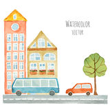 Watercolor elements of urban design, houses, cars. Royalty Free Stock Photography