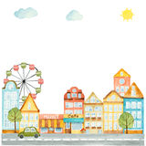 Watercolor elements of urban design, houses, cars. Royalty Free Stock Photo