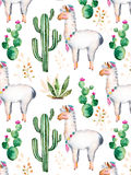 Watercolor elements for your design with cactus plants,flowers and lama. Royalty Free Stock Photo