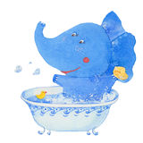 Watercolor elephant in the bathroom Stock Images