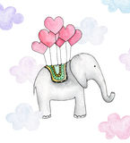 Watercolor elephant . Cartoon animal Stock Images