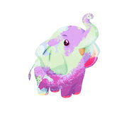 Watercolor elephant isolated on white background Stock Photo
