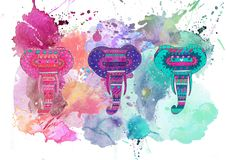 Watercolor elephants collage Royalty Free Stock Image