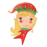 Watercolor Elf and star Royalty Free Stock Photos