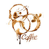 Watercolor emblem with coffee stains Stock Image