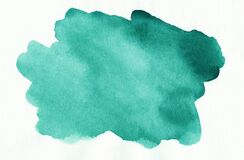 Free Watercolor Emerald Spot On White Background. Aquarelle Abstract Sea Green Backdrop Stock Photos - 195212363