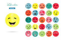 Watercolor emoticons set. Stock Photography