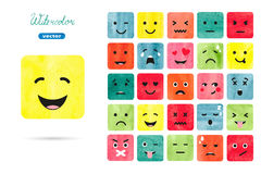 Watercolor emoticons set. Vector collection of emotions symbols. Colorful illustration Royalty Free Stock Images