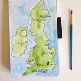 Watercolor of England by child Stock Image