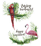 Watercolor Enjoy summer and Happy vacation print. Hand painted floral label with tropical plant, flamingo and parrot Stock Photography