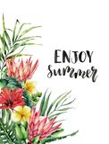 Watercolor Enjoy summer lettering card. Hand painted flowers: protea, hibiscus and plumeria isolated on white background royalty free illustration