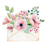 Watercolor envelope with flowers Stock Photo