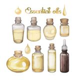 Watercolor essential oils. On white background. Hand painted collection of small bottles in yellow colors stock illustration