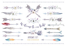 Watercolor ethnic boho set of arrows, feather and flower. Tribe. Native American decoration print elemrnt.Tribal Navajo isolated illustration bohemian ornament vector illustration