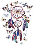 Watercolor ethnic dream catcher with all seeing eye. Dream catcher with feathers and all seeing eye. Watercolor ethnic dreamcatcher and butterfly isolated on Royalty Free Stock Images