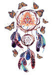 Watercolor ethnic dream catcher with all seeing eye in pyramid. Dream catcher with feathers and all seeing eye in pyramid. Watercolor ethnic dreamcatcher and Stock Image
