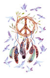 Watercolor ethnic dream catcher and peace sign. Stock Photo