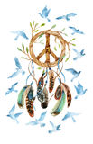 Watercolor ethnic dream catcher and peace sign. Royalty Free Stock Photos
