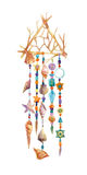 Watercolor ethnic dreamcatcher. Royalty Free Stock Photography